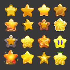 Cartoon vector star icons set