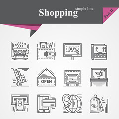 Simple thin line icons set on the topic of shopping with online payment,online shopping,gift,product delivery,customer support etc.For designers and developers