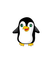 Funny cartoon penguin, white background