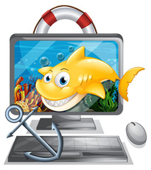 Computer screen with yellow shark