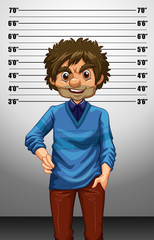 Man with measuring height