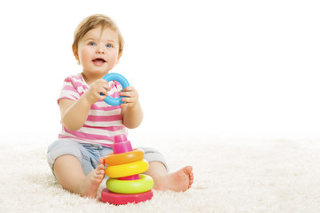 Kid Playing Toys Blocks, Sitting Baby Play Toy on White