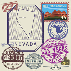 Stamp set with the name and map of Nevada, United States