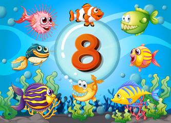 Flashcard number eight with 8 fish underwater
