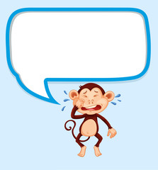 Speech bubble with monkey crying