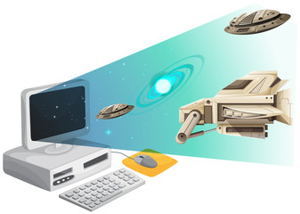 Computer screen with spaceships in the space