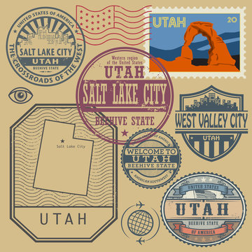 Stamp set with the name and map of Utah, United States