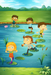 Children stepping on lotus leaves