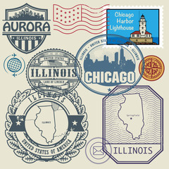 Stamp set with the name and map of Illinois, United States