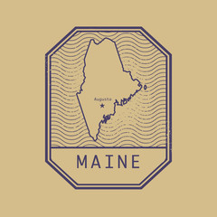 Stamp with the name and map of Maine, United States