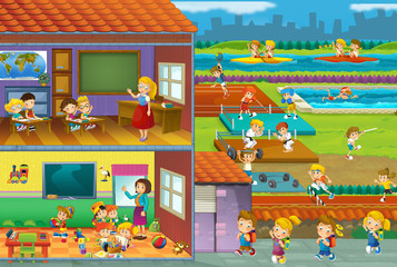 The cut through illustration - school - kids and sport - gymnastics - illustration for the children
