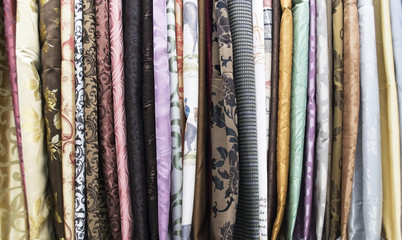 variety of fabrics in the store