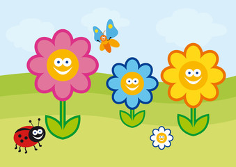 Funny spring illustration. Vector colorful flowers. Crazy colorful cartoon flowers. Children's Summer colorful drawing.