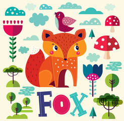 Illustration with fox and other elements