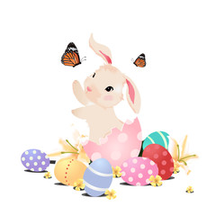 Bunny rabbit in the egg playing with butterfly for Easte, isolated.