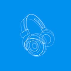 Headphones music cover easy editable