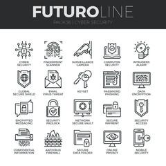 Cyber Security Futuro Line Icons Set