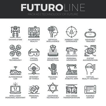 Future Technology Futuro Line Icons Set