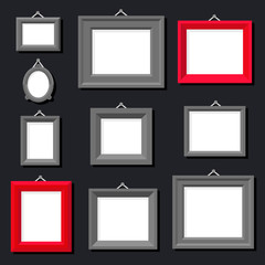 White Paper Frame Photo Picture Art Painting Decoration Drawing Symbol Template Icon Set Stylish Black Background Retro Vintage Flat Design Vector Illustration