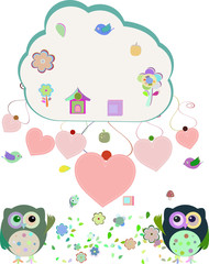 owls, birds, flowers, cloud and love heart, vector illustration