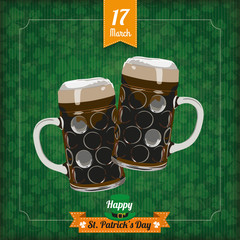St. Patricks Day Vintage Cover 2 Beer Glasses