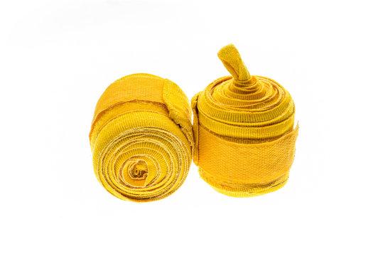 Yellow boxing wraps or bandages isolated on white