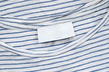 Blank fabric label on cotton T shirt