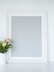 White picture frame on desk