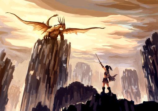 illustration digital painting dragon hunting