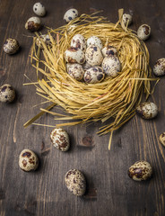 Fresh quail eggs in the nest  on wooden rustic background top view close up