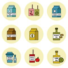 Food of future vector icon set