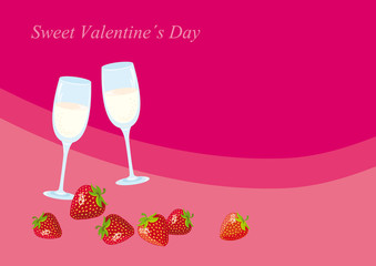 Sweet Valentine Day. Romantic background for Valentine's day. Card with glasses champagne. Champagne and strawberries for special occasion.