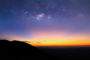The milky way above mountain before sunsire.