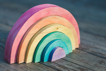 Wooden Rainbow Puzzle Toy