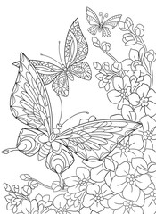 Zentangle stylized cartoon butterfly and sakura flower isolated on white background. Sketch for adult antistress coloring page. Hand drawn floral, doodle, zentangle design elements for coloring book.