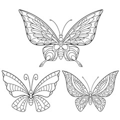 Zentangle stylized cartoon collection of butterflies isolated on white background. Sketch for adult antistress coloring page. Hand drawn doodle, zentangle, floral design elements for coloring book.