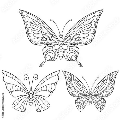 Zentangle Stylized Cartoon Collection Of Butterflies Isolated On White Background Sketch For