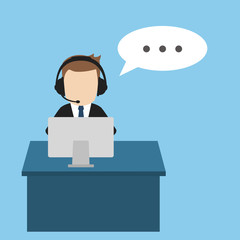 Call center vector illustration, blue background.