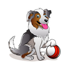 Vector illustration of Cartoon Dog with ball