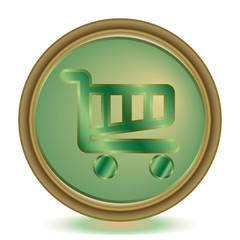 Shopping cart emerald color icon