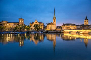 Fotomurales - Zürich Stadtansicht bei Nacht