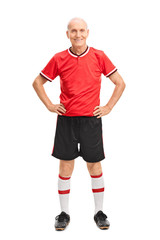 Senior man in a red football jersey