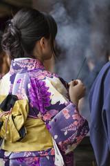 Japanese women wear a traditional dress called Kimono for Sakura