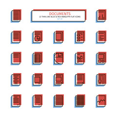 Thin line icon set. Anaglyph 3D red and blue style. Documents, templates, tables, lined blanks, graphics, lists and schedules icons. Vector.