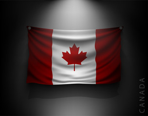 waving flag canada on a dark wall