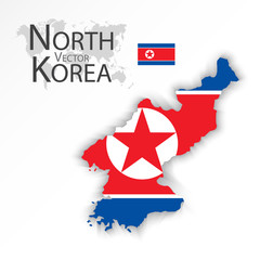 North Korea ( Democratic People 's Republic of Korea ) ( flag and map ) ( transportation and tourism concept )