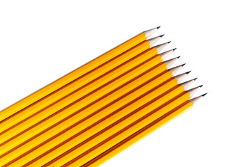 a raw of yellow pencils izolated