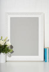White picture frame on desk