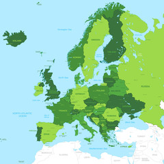 Vector High Detail Green Europe Map