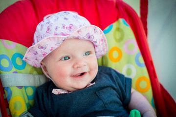 Cute baby girl with pink hat